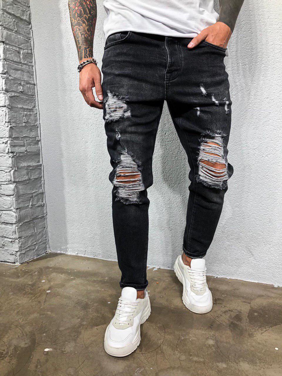 Мужские джинсы рваные зауженные темно-серые 5363-3422