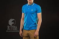 """Мужская футболка поло синяя """"Ястребь"""""""