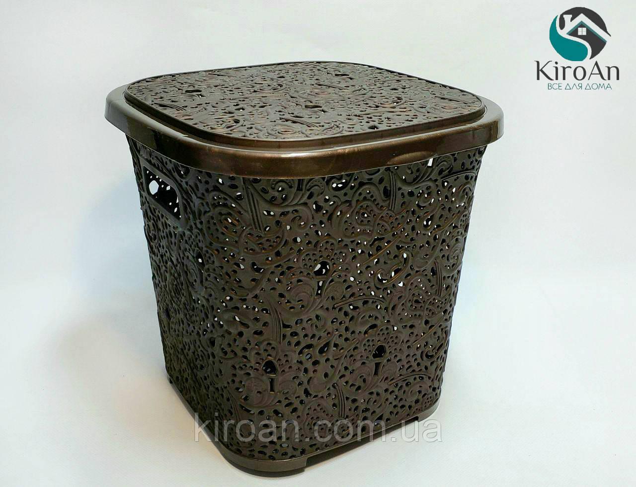 Корзинка квадратная с крышкой дляхранения белья или других мелочей 14л Elif  28х29х30 см