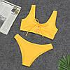 Раздельный желтый купальник на завязках