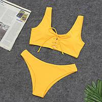 Раздельный желтый купальник на завязках, фото 1