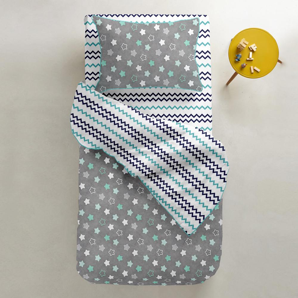 Комплект дитячої постільної білизни STARS MINT /зигзаг синьо-блакитний/