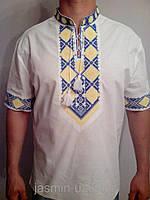 Льняная мужская вышиванка с тризубом , фото 1