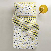 Комплект детского постельного белья CROWNS /зигзаг желто-серый/