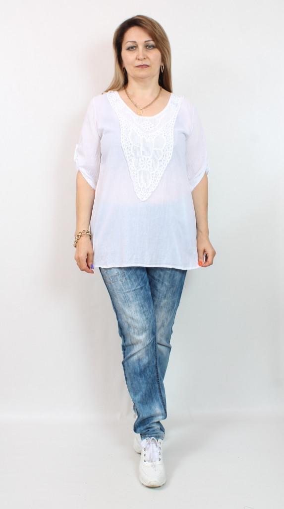 Турецкая летняя белая женская туника больших размеров 48-56