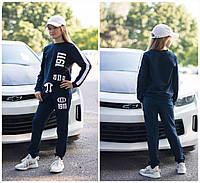 Подростковый спортивный костюм 1911 синий серый на девочку 7 8 9 10 11  лет