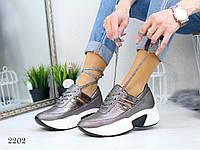 Женские кроссовки на платформе, цвет бронзовый, фото 1