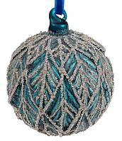 """Новогодний шар стекло """"Листочек глиттер"""" елочный шар 8 см с декором стеклянный, цвет сапфировый, набор 6 шт"""