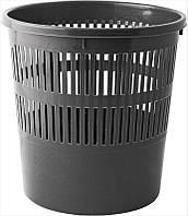 Корзина для мусора пластик, круглая, 8л, черная, с прорезями, Buromax