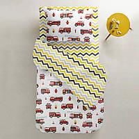 Комплект детского постельного белья FIRE CARS /зигзаг серо-желтый/