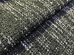 Вискозный трикотаж меланжевый двойное плетение, хаки