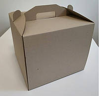 Коробка картонная для торта 30 см х 30 см х 25 см бурая