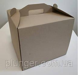 Коробка картонна для торта 30 см х 30 см х 25 см бура (30Т)