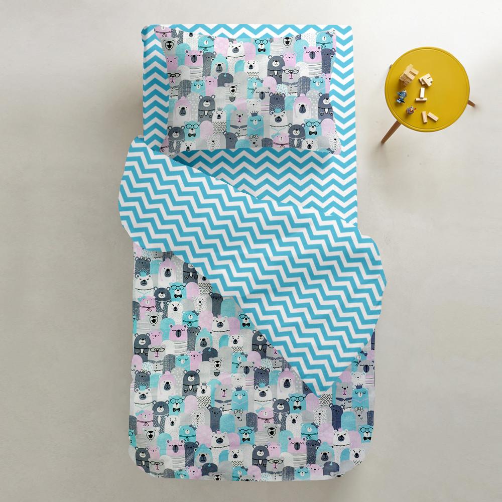Комплект дитячої постільної білизни BEAR HERD /зигзаг блакитний/