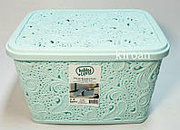 Пластиковая корзина ажурная с крышкой 5,5л (цвет голубой) 26 х 20 х 16 см