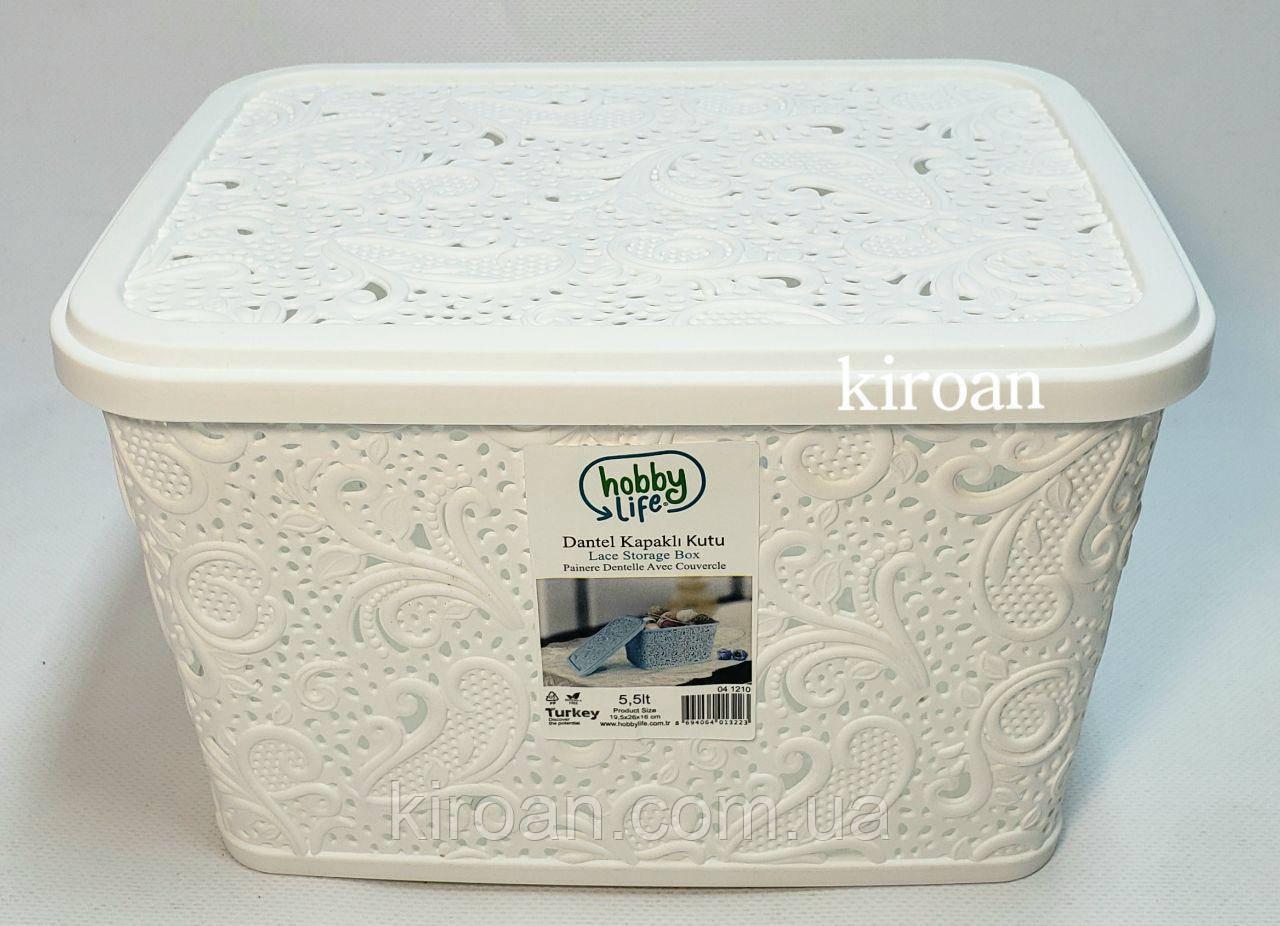 Пластиковая корзина ажурная с крышкой 5,5л (цвет белый) 26 х 20 х 16 см