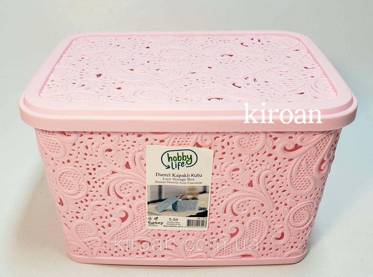 Пластиковая корзина ажурная с крышкой 5,5л (цвет розовый) 26 х 20 х 16 см