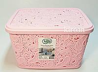 Пластиковая корзина ажурная с крышкой 5,5л (цвет розовый) 26 х 20 х 16 см, фото 1