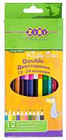 Карандаши цветные Zibi Double, 2 сторонние, 12 шт., шестигр.
