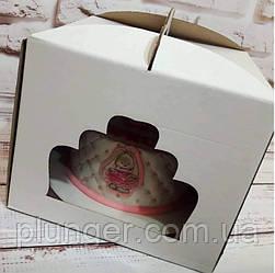 Коробка картонна для торта 30 см х 30 см х 25 см, біла з вікном (30Т)