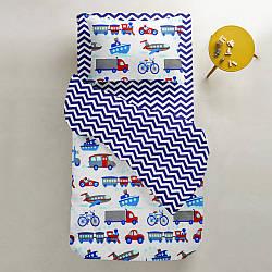 Комплект дитячої постільної білизни TRANSPORT /зигзаг синій/