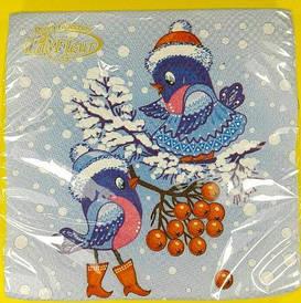 Новогодняя салфетка (ЗЗхЗЗ, 20шт)  La FleurНГ Свидание воробьёв (112) (1 пач)