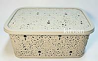 Корзина ажурная с крышкой 6л (цвет-кофе с молоком) Турция 13 х 21 х 29 см
