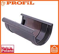 Водосточная пластиковая система PROFIL 90/75 (ПРОФИЛ ВОДОСТОК). Соединитель желоба без вкладки, графитовый