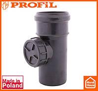 Водосточная пластиковая система PROFIL 90/75 (ПРОФИЛ ВОДОСТОК). Ревизия без решетки, графитовый