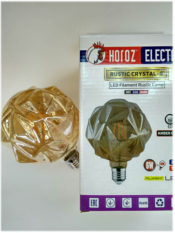 Led вінтажна лампа Filament 6w E27 Rustic Crystal-6 Horoz Electric