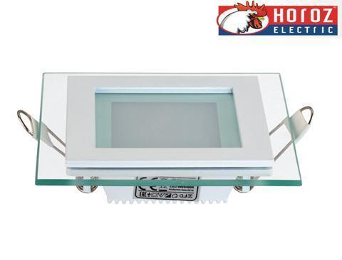 Светодиодный встраиваемый квадратный светильник стекло 6W 4200K Maria-6 Horoz Electric HL684LG