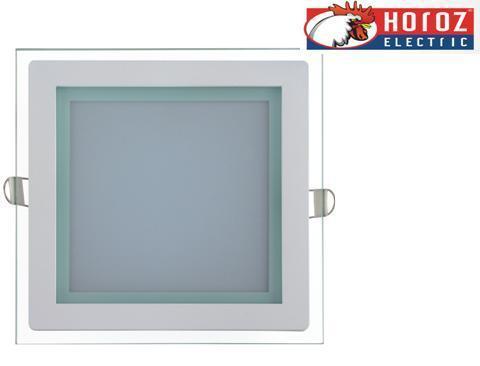 Светодиодный встраиваемый квадратный светильник стекло 15W 4200K Maria-15 Horoz Electric HL686LG