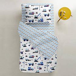 Комплект дитячої постільної білизни BUILDING /зигзаг сіро-блакитний/