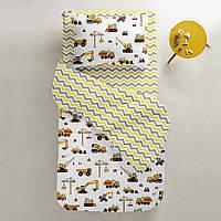 Комплект детского постельного белья BUILDING /зигзаг серо-желтый/