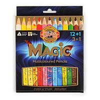 Карандаши цветные Koh-i-noor Magic, 3 в 1 (3 цвета), 12 цв. + блендер, трехгран., толстые
