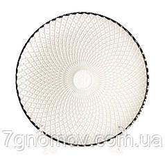 Тарелка стеклянная обеденная Сияние платина 27 см