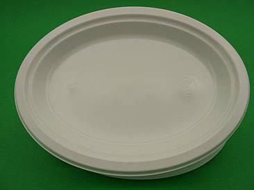 Овальная тарелка одноразовая пластиковая 260 mm белая (100 шт)