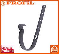 Водосточная пластиковая система PROFIL 90/75 (ПРОФИЛ ВОДОСТОК). Держатель желоба метал 90, графитовый