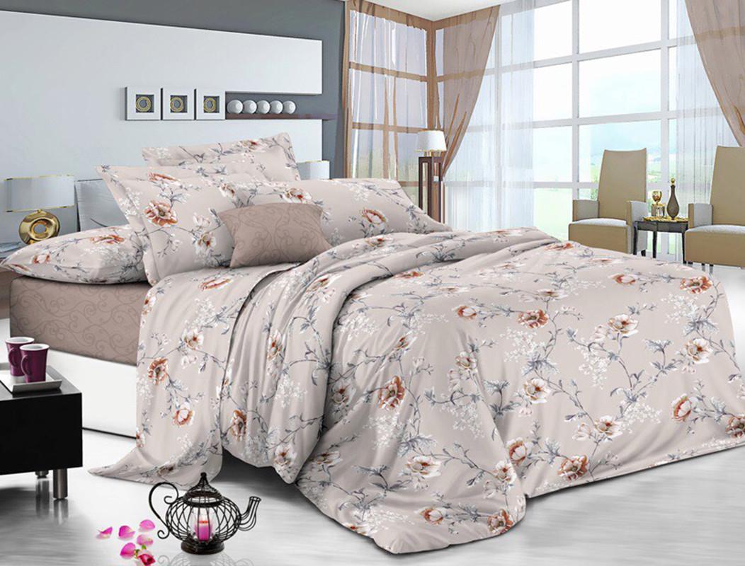Двуспальный комплект постельного белья евро 200*220 сатин (12386) TM КРИСПОЛ Украина