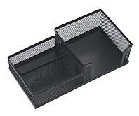 Подставка настольная (ненаполненная), 3 отделения, металл, квадратная, черная, сетка, Optima