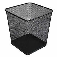 Корзина для мусора металл, квадратная, 10л, черная, сетка, Optima
