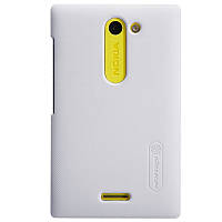 Чехол Nillkin для Nokia Asha 502 белый (+пленка)