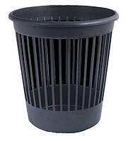 Корзина для мусора пластик, круглая, 10л, черная, с прорезями, Арника