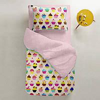 Комплект детского постельного белья CAKES /горох на розовом/