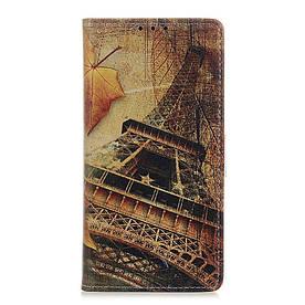 Чехол книжка для Xiaomi Mi 9T боковой с отсеком для визиток, Эйфелева башня и листья