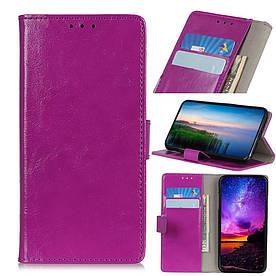 Чехол книжка для Xiaomi Mi 9T боковой с отсеком для визиток, Гладкая кожа, фиолетовый