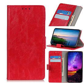 Чехол книжка для Xiaomi Mi 9T боковой с отсеком для визиток, Гладкая кожа, красный