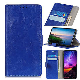 Чехол книжка для Xiaomi Mi 9T боковой с отсеком для визиток, Гладкая кожа, синий
