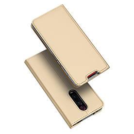 Чехол книжка для Xiaomi Mi 9T боковой с отсеком для визиток, DUX DUCIS, золотистый