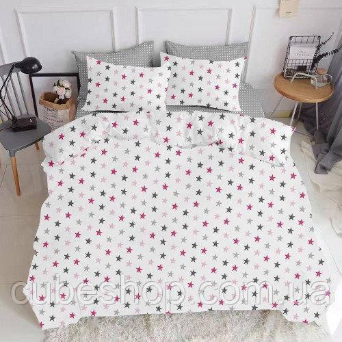 Комплект полуторного постельного белья STAR ROSE GREY DROP (хлопок, ранфорс)